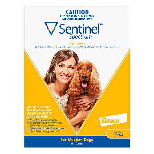 Sentinel Spectrum Tasty Chews For Medium Dogs 11 To 22kg (Yellow) 3 Chews (Sale 20% Off. Exp: Aug-18)