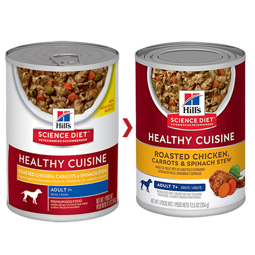 Hill's Science Diet Adult 7+ Healthy Cuisine Roasted Chicken, Carrots & Spinach Stew Canned Dog Food