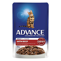 Advance Beef in Gravy Adult Cat Wet Food Pouch  85gmX12