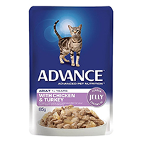 Advance Chicken & Turkey in Jelly Adult Cat Wet Food Pouch 85gmX12