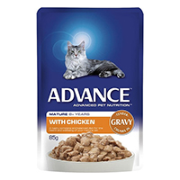 Advance Chicken In Gravy Mature Cat 8+ Years Wet Food Pouch 85gmx12  1 Pack Special Clearance Sale (Extra 20% Off)