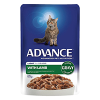Advance Light Lamb in Gravy Adult Cat Wet Food Pouch 85gmX12