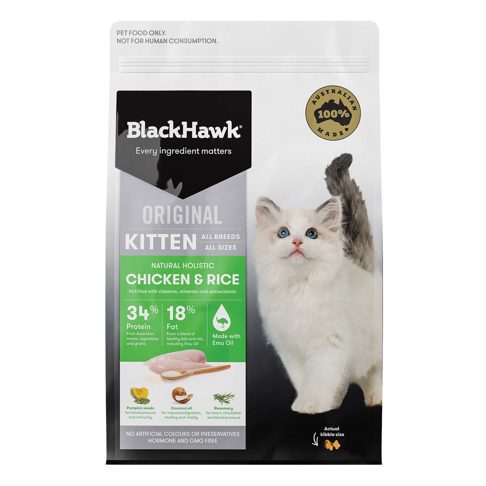 Black Hawk Kitten Chicken and Rice Dry Cat Food New Formula