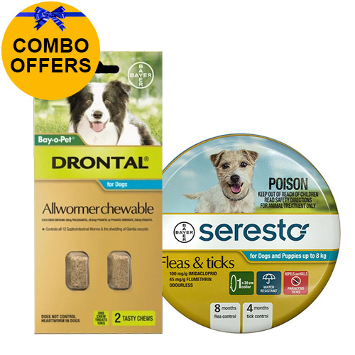 Seresto Collar + Drontal Allwormer Combo Pack