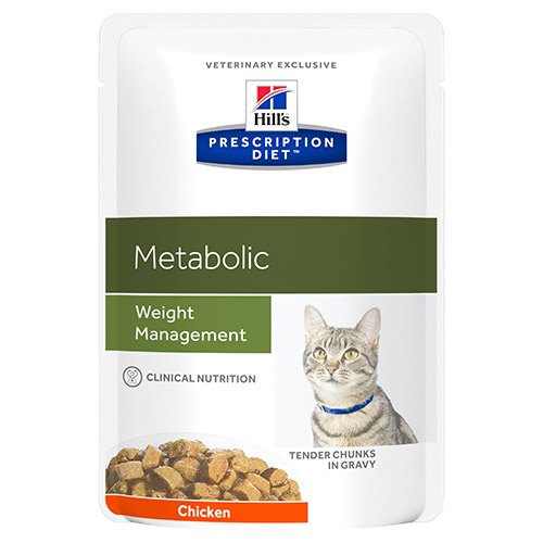 Hill's Prescription Diet Metabolic Weight Management Chicken Cat Food Pouches 85gx12 1 Pack
