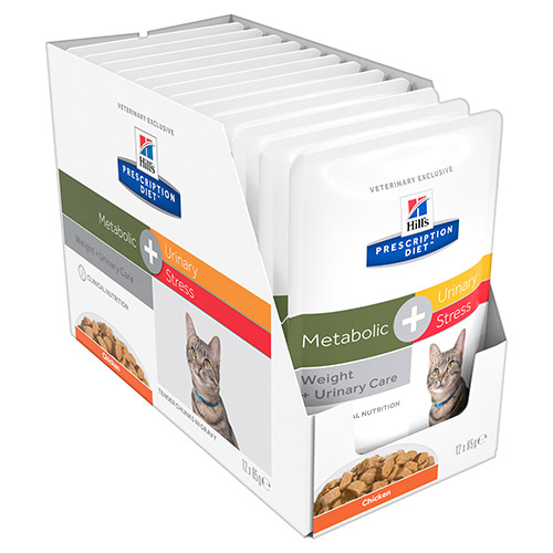 Hill's Prescription Diet Metabolic + Urinary Stress Chicken Cat Food Pouches