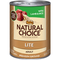 Nutro Natural Choice Adult Dog Lite Cans Lamb and Rice Formula