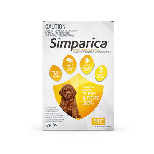 Simparica Chewables 5MG for Puppies 1.3-2.5KG (YELLOW)