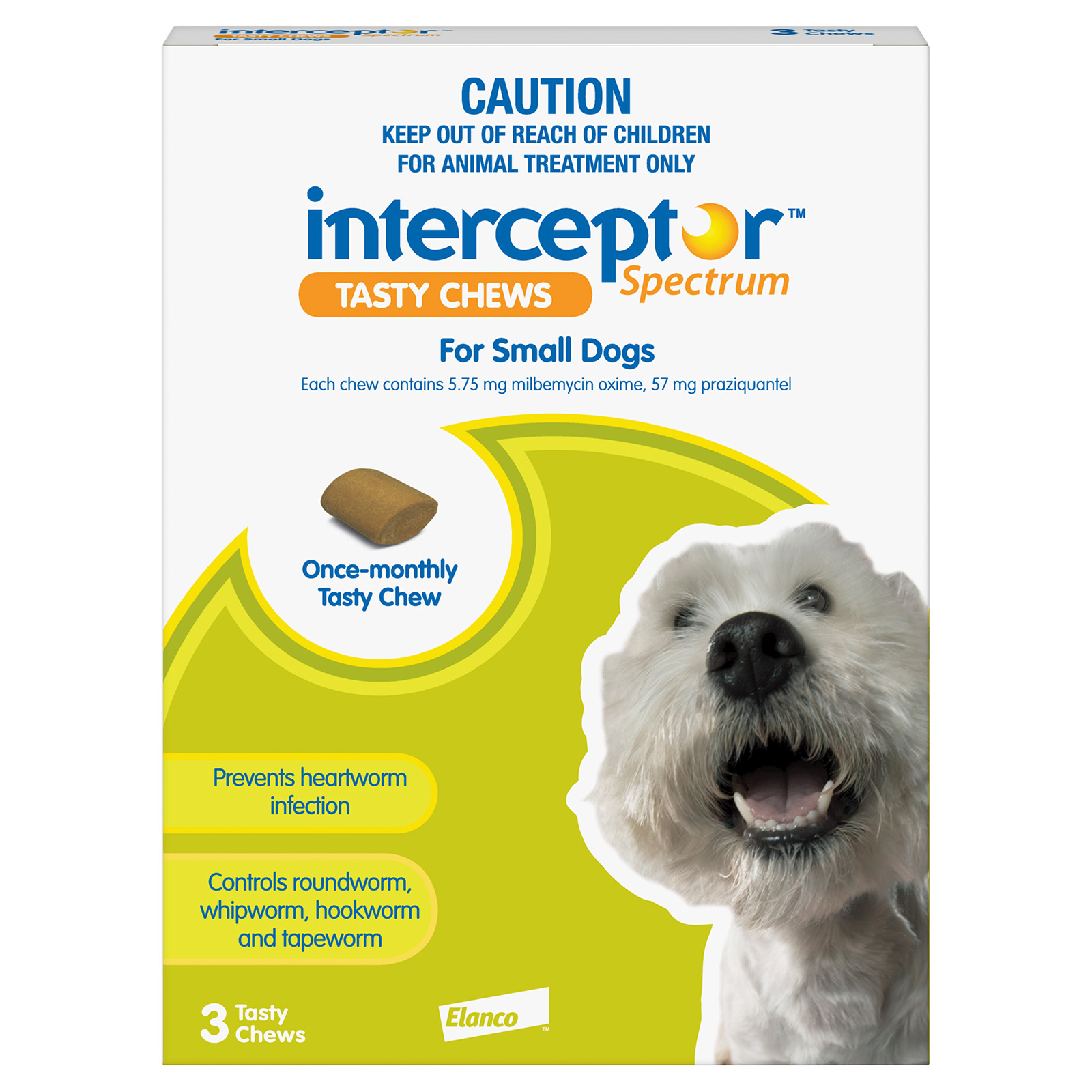 Interceptor Spectrum Tasty Chews For Small Dogs 4 To 11Kg (Green)