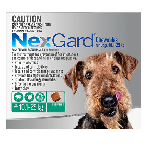 Nexgard Chewables For Large Dogs (10.1 - 25 Kg) Green