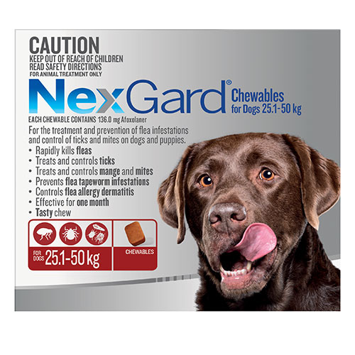 Nexgard Chewables For Extra Large Dogs (25 - 50 Kg) Red