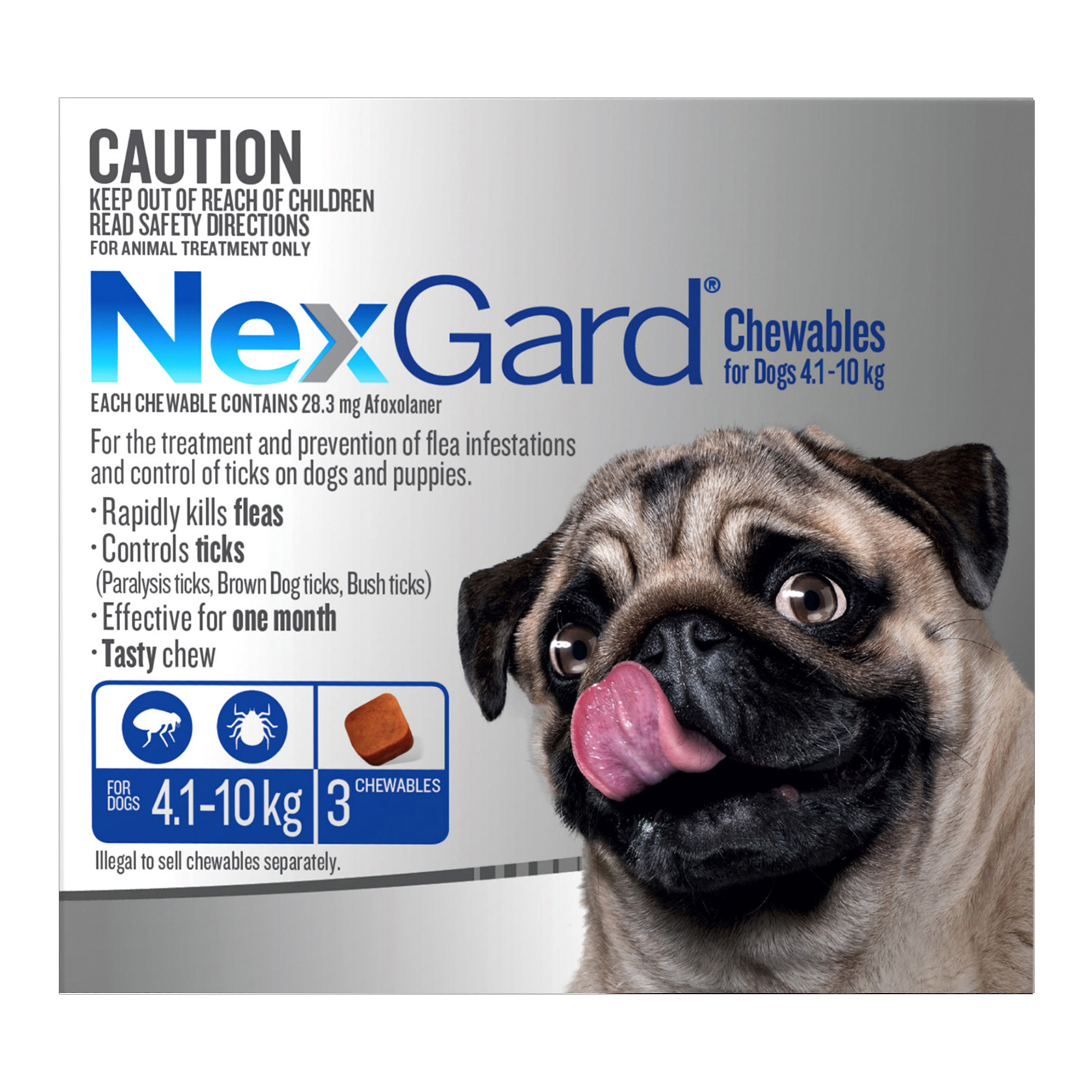 Nexgard Chewables For Medium Dogs (4.1 - 10 Kg) Blue