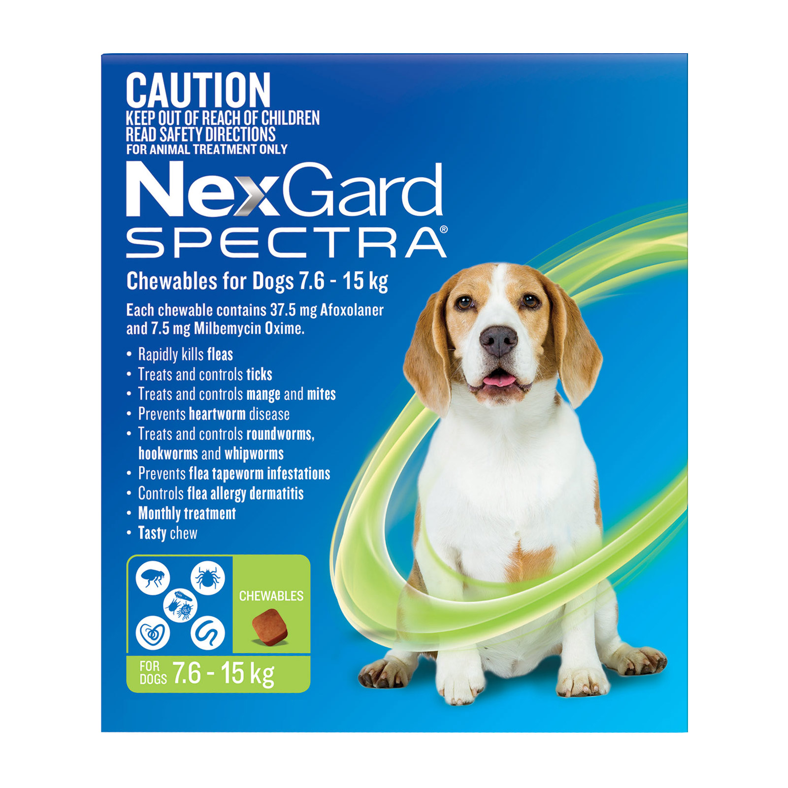 Nexgard Spectra Medium Dogs (7.6.15kg) Green